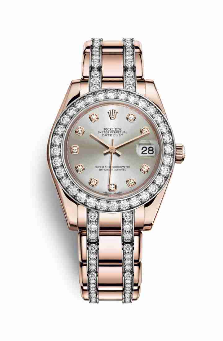 Rolex Pearlmaster 34 Everose gold 81285 Silver diamonds Watch Replica
