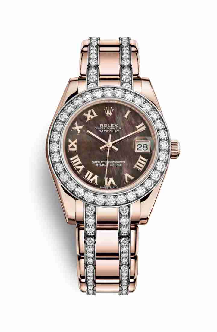 Rolex Pearlmaster 34 Everose gold 81285 Black mother-of-pearl Dial Watch Replica