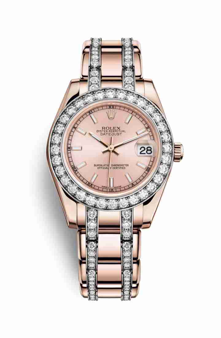 Rolex Pearlmaster 34 Everose gold 81285 Pink Dial Watch Replica