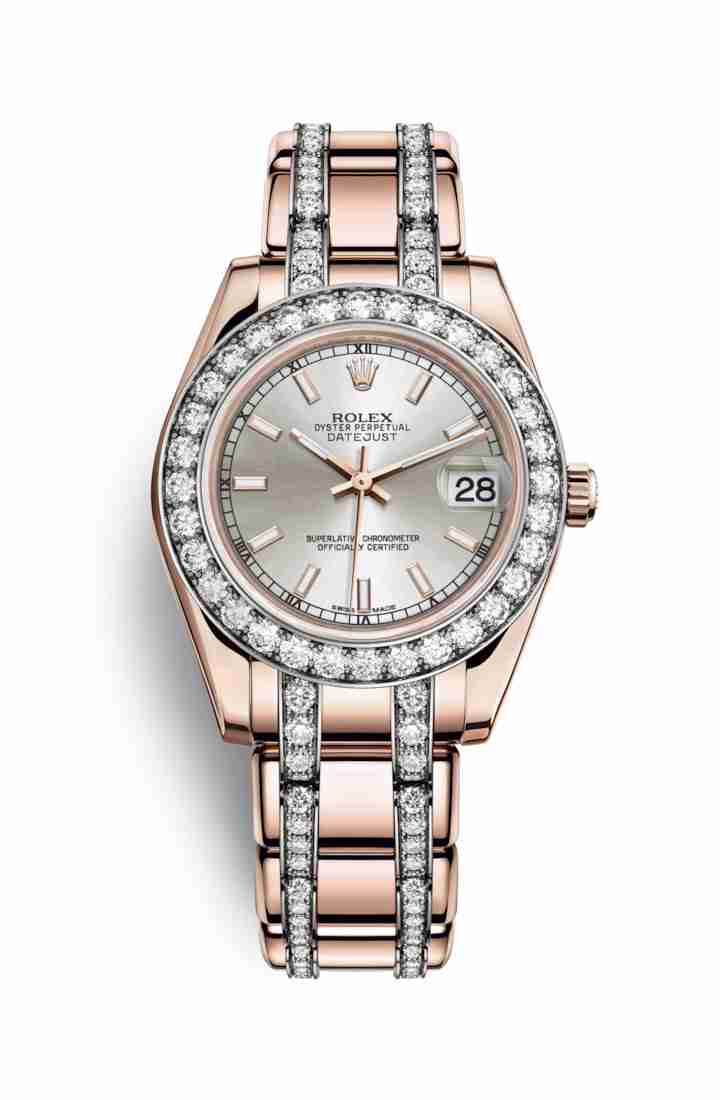 Rolex Pearlmaster 34 Everose gold 81285 Silver Dial Watch Replica