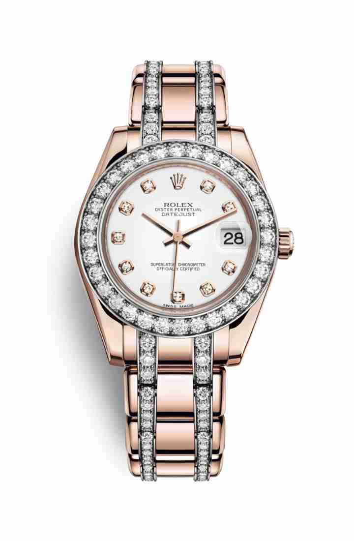 Rolex Pearlmaster 34 Everose gold 81285 White diamonds Watch Replica