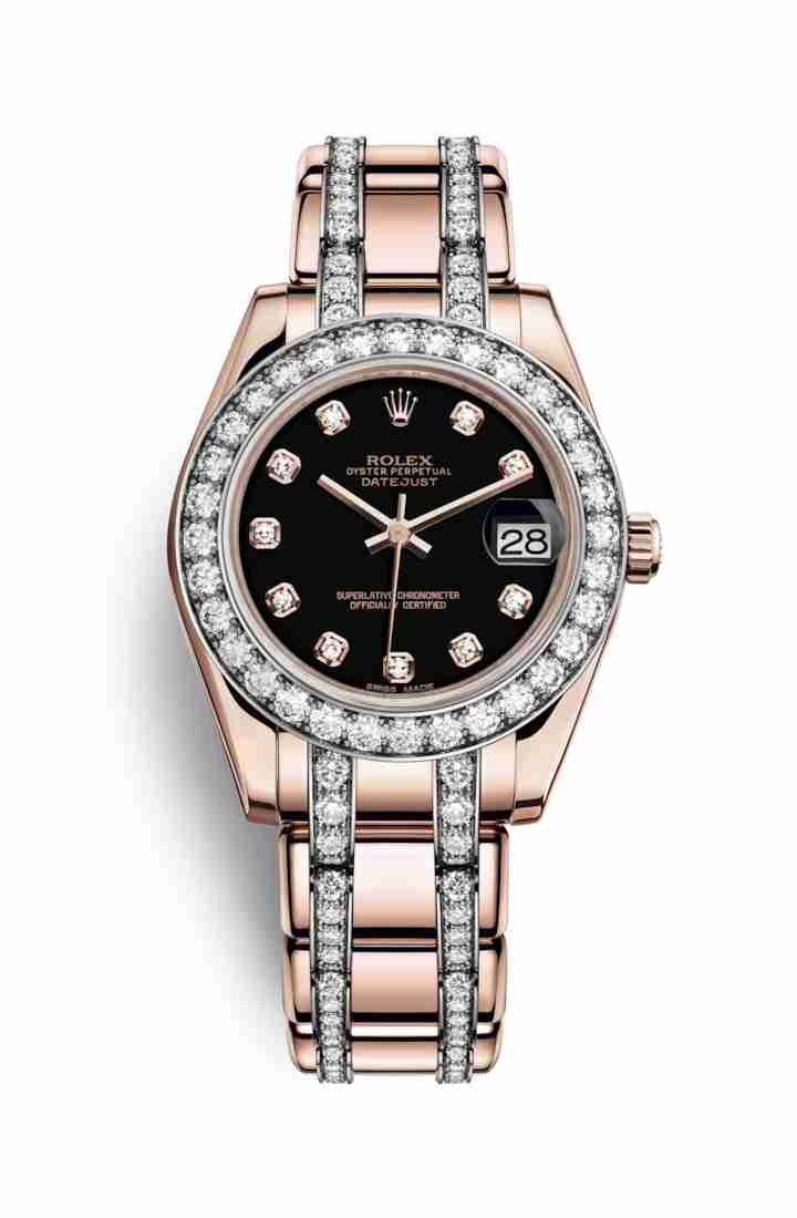 Rolex Pearlmaster 34 Everose gold 81285 Black diamonds Watch Replica