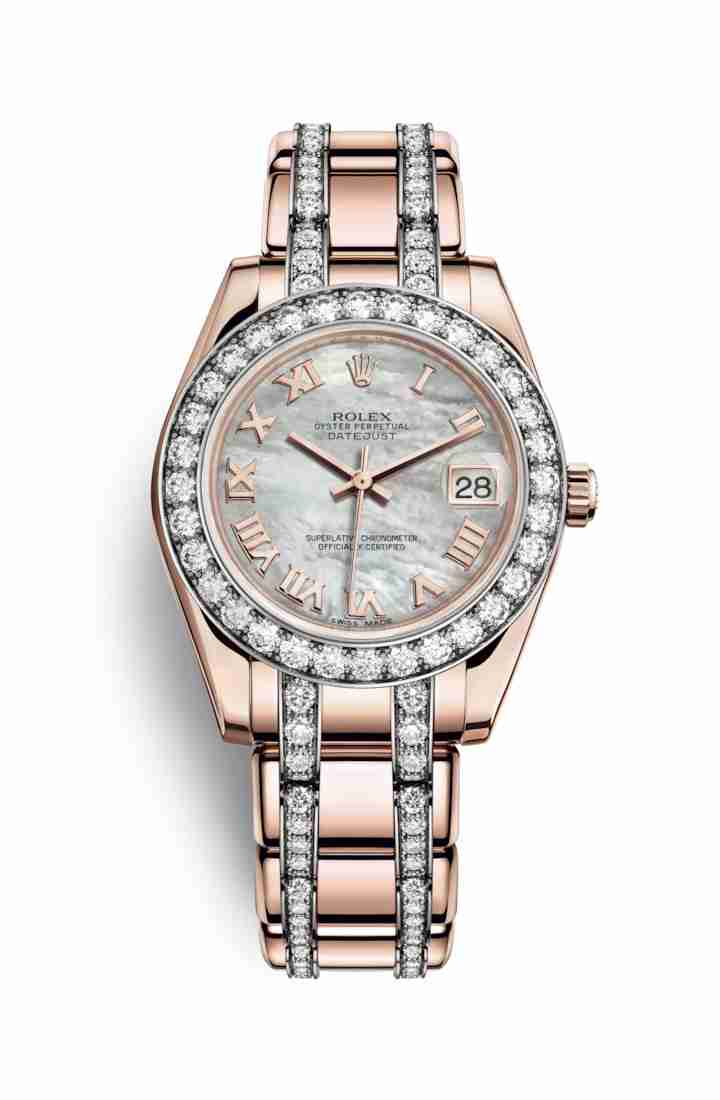 Rolex Pearlmaster 34 Everose gold 81285 White mother-of-pearl Dial Watch Replica