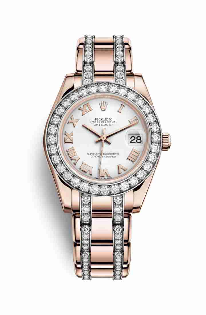 Rolex Pearlmaster 34 Everose gold 81285 White Dial Watch Replica