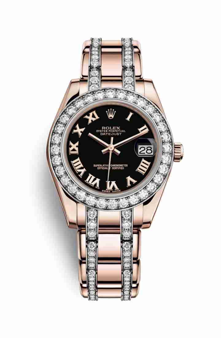Rolex Pearlmaster 34 Everose gold 81285 Black Dial Watch Replica