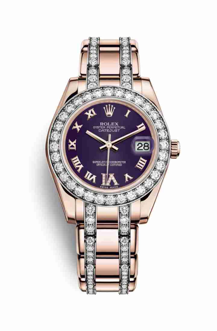 Rolex Pearlmaster 34 Everose gold 81285 Purple diamonds Watch Replica