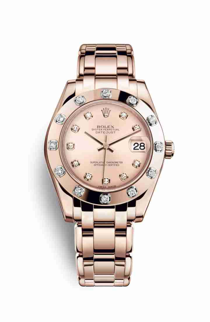 Rolex Pearlmaster 34 Everose gold 81315 Pink diamonds Watch Replica - Click Image to Close