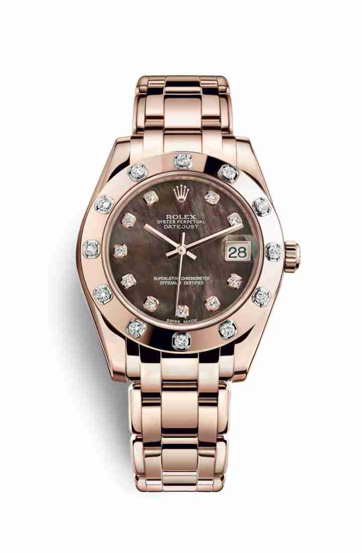 Rolex Pearlmaster 34 Everose gold 81315 Black mother-of-pearl diamonds Watch Replica