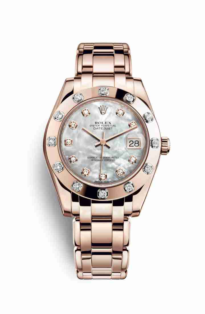 Rolex Pearlmaster 34 Everose gold 81315 White mother-of-pearl diamonds Watch Replica