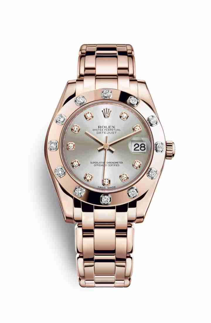 Rolex Pearlmaster 34 Everose gold 81315 Silver diamonds Watch Replica