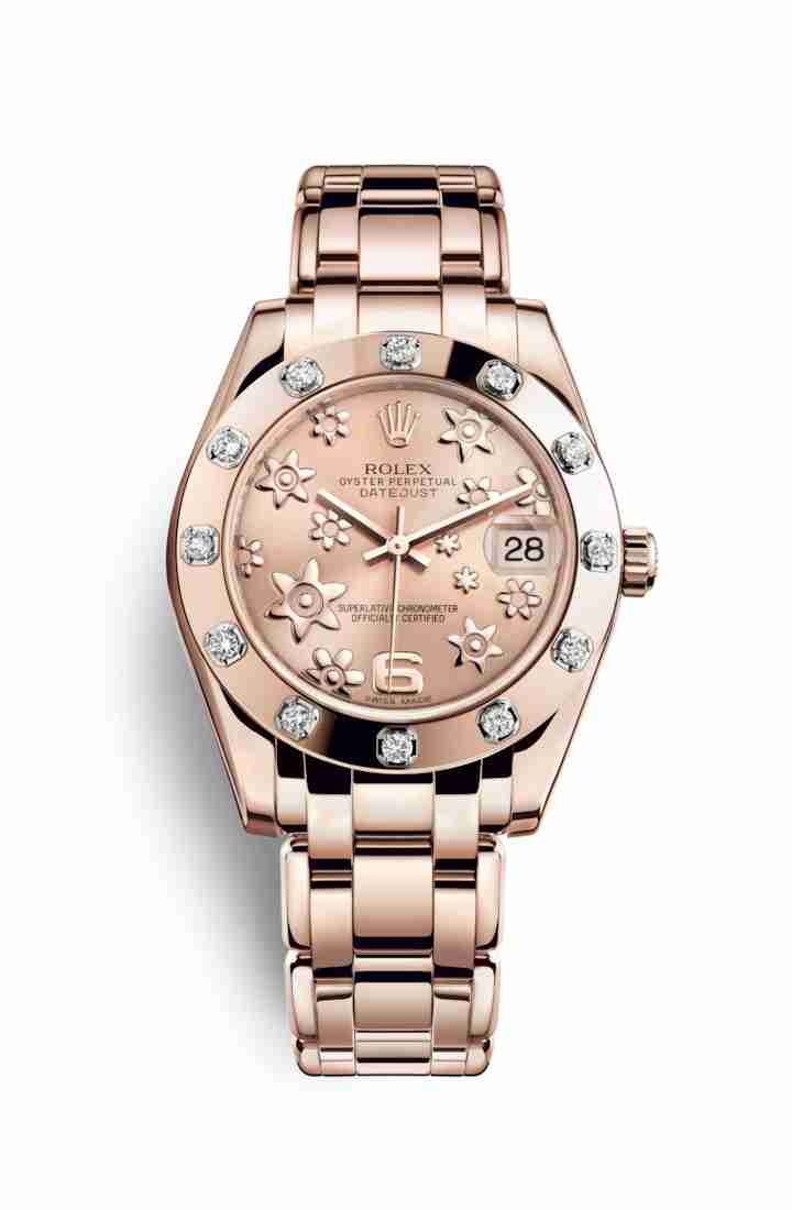 Rolex Pearlmaster 34 Everose gold 81315 Pink raised floral motif Dial Watch Replica