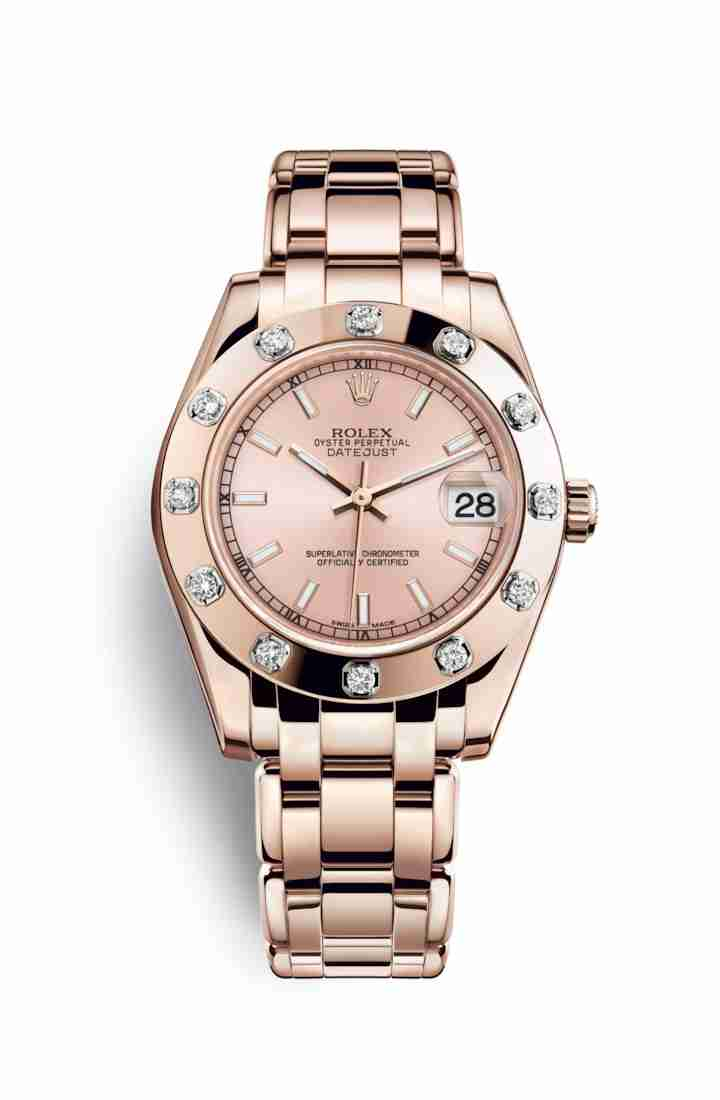 Rolex Pearlmaster 34 Everose gold 81315 Pink Dial Watch Replica