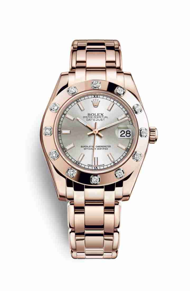 Rolex Pearlmaster 34 Everose gold 81315 Silver Dial Watch Replica