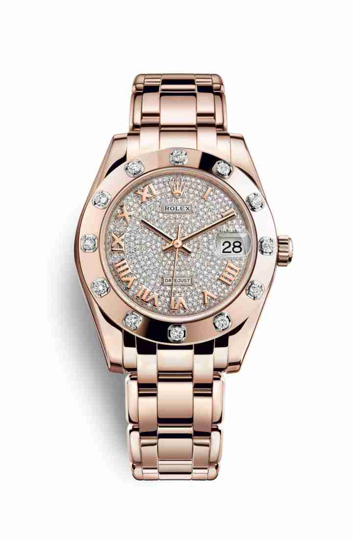 Rolex Pearlmaster 34 Everose gold 81315 Diamond-paved Dial Watch Replica