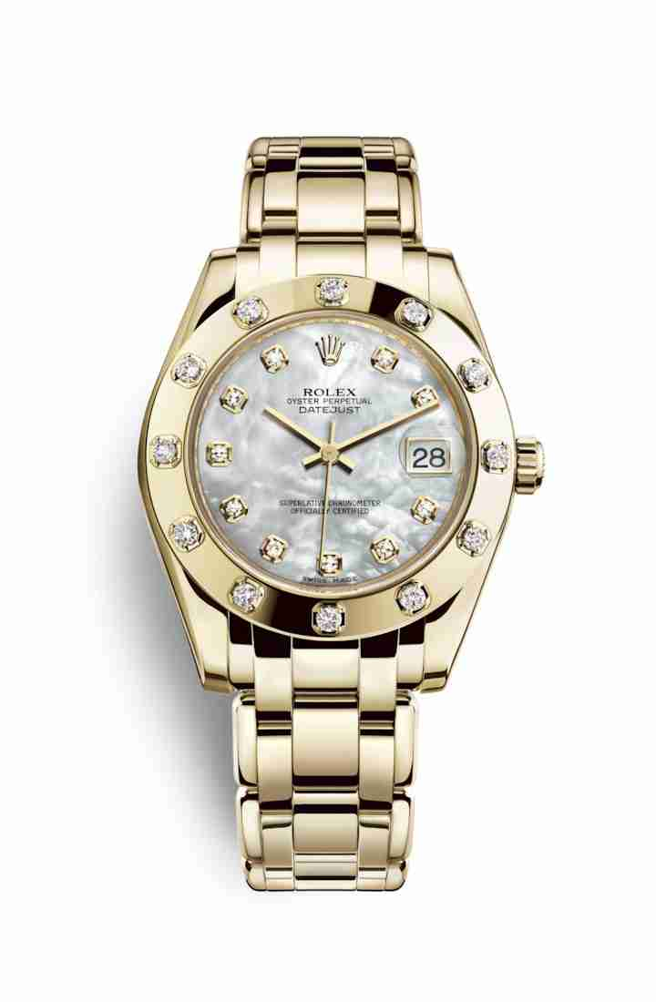 Rolex Pearlmaster 34 81318 White mother-of-pearl diamonds Watch Replica
