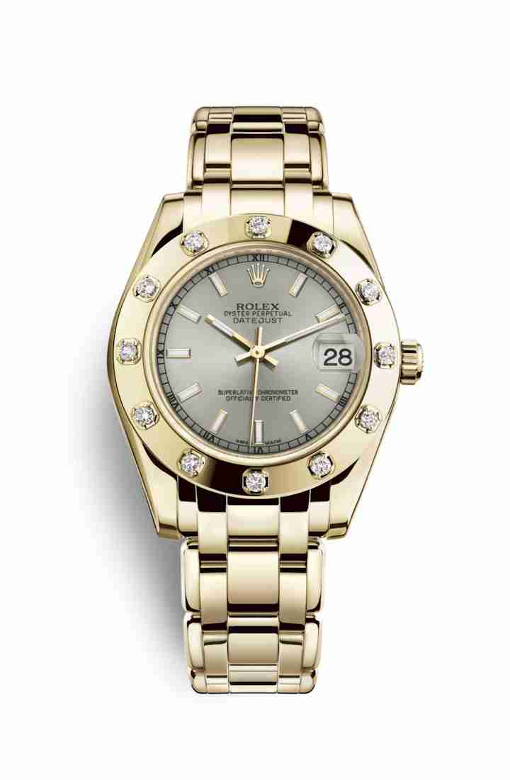 Rolex Pearlmaster 34 81318 Silver Dial Watch Replica - Click Image to Close
