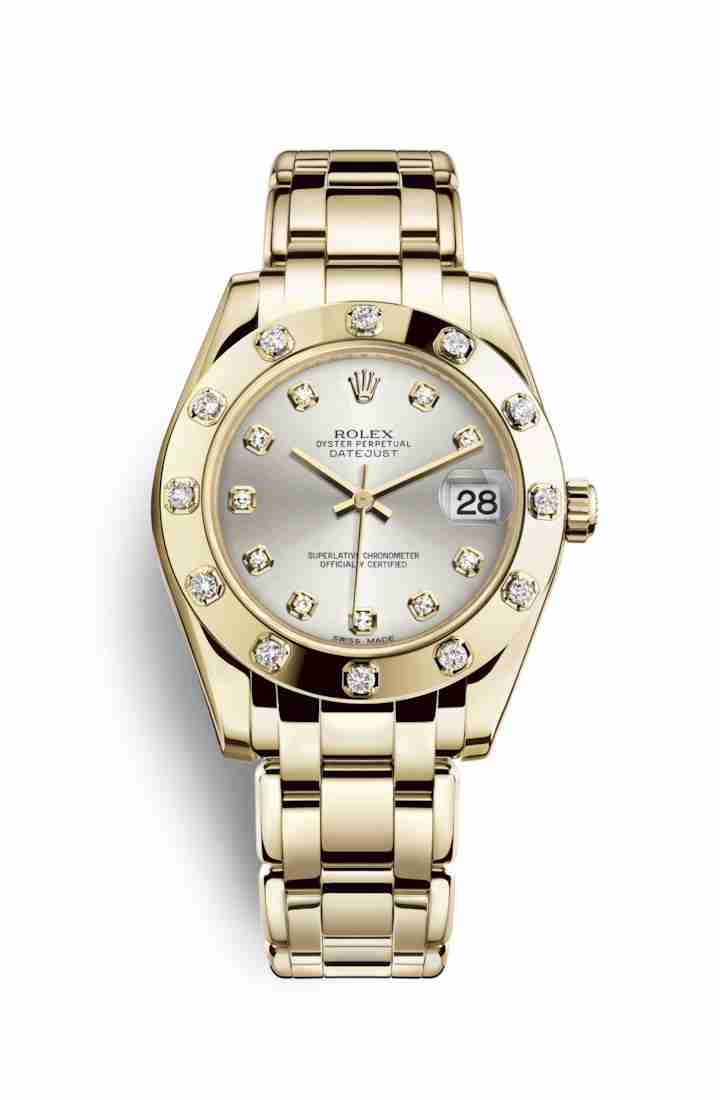 Rolex Pearlmaster 34 81318 Silver diamonds Watch Replica