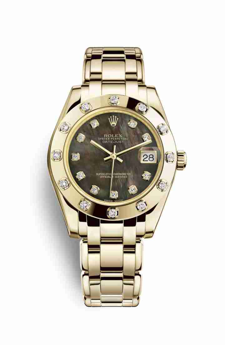 Rolex Pearlmaster 34 81318 Black mother-of-pearl diamonds Watch Replica