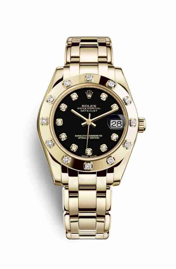 Rolex Pearlmaster 34 81318 Black diamonds Watch Replica