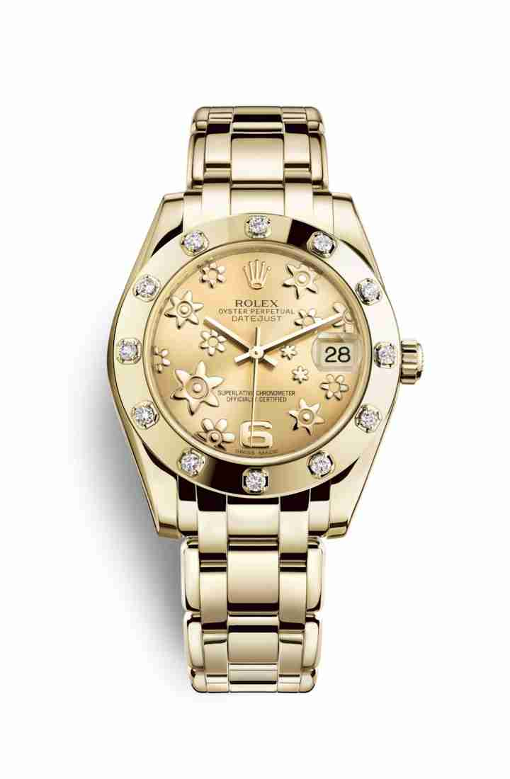 Rolex Pearlmaster 34 81318 Champagne raised floral motif Dial Watch Replica