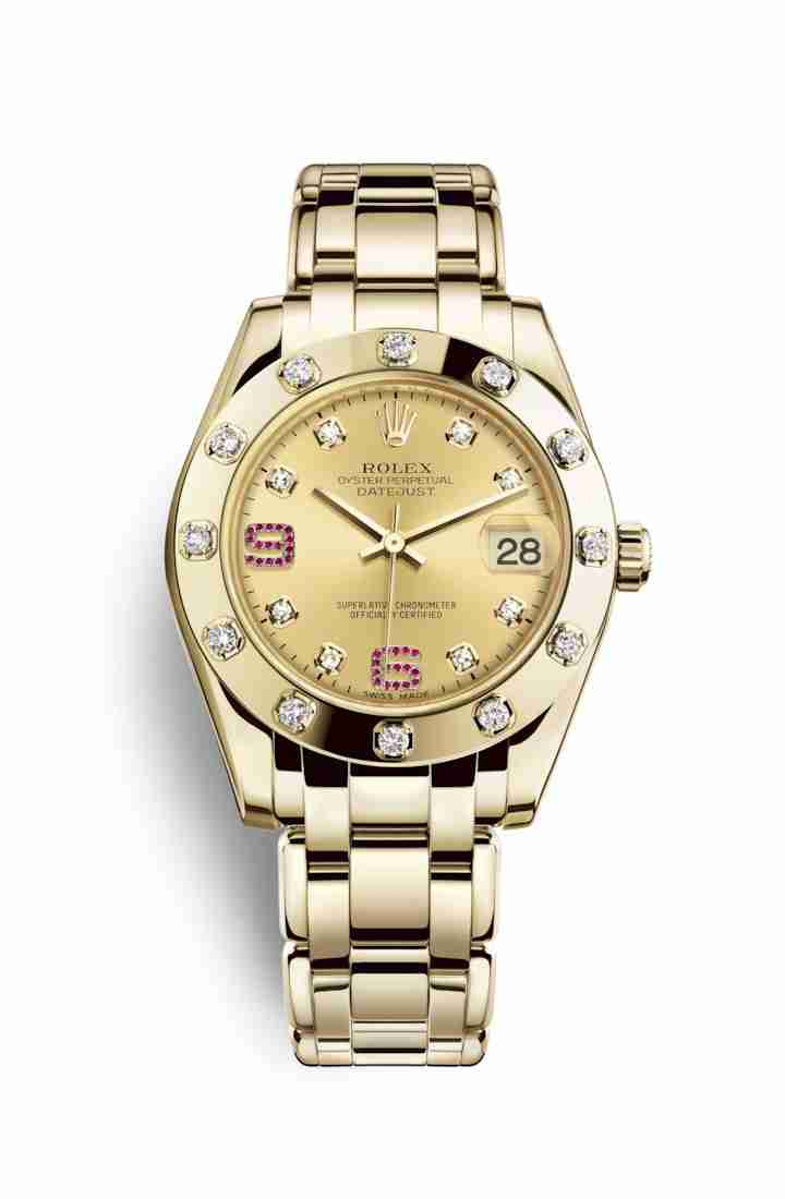 Rolex Pearlmaster 34 81318 Champagne diamonds rubies Dial Watch Replica