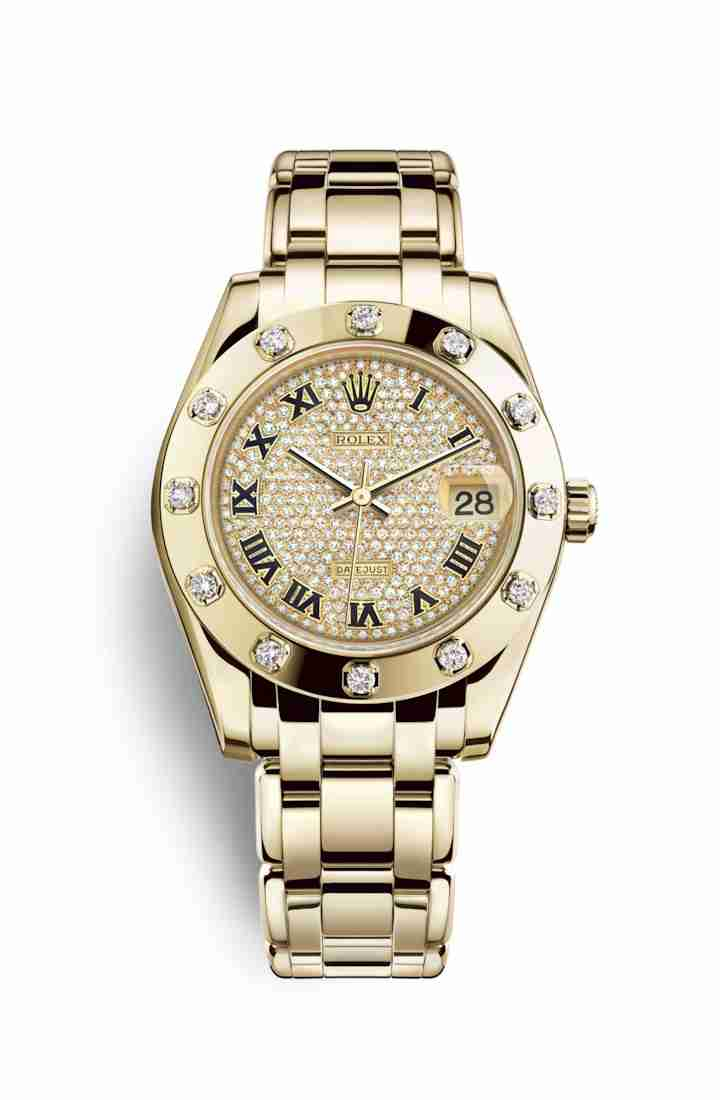 Rolex Pearlmaster 34 81318 Diamond-paved Dial Watch Replica