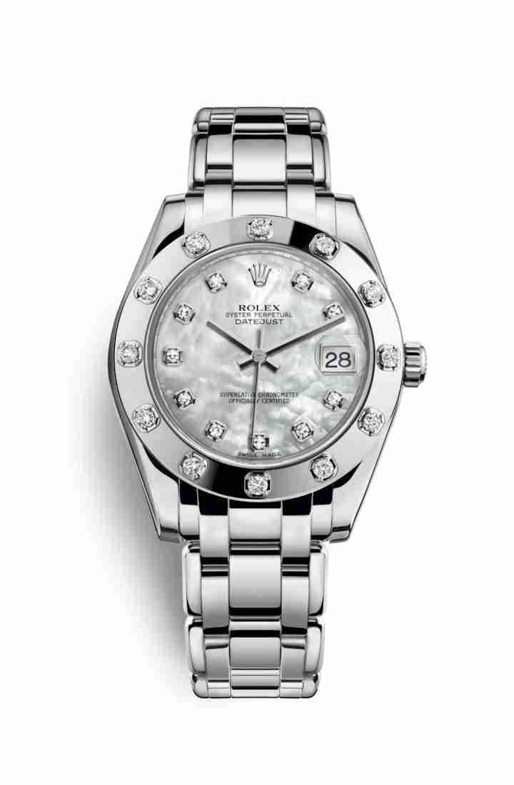 Rolex Pearlmaster 34 81319 White mother-of-pearl diamonds Watch Replica
