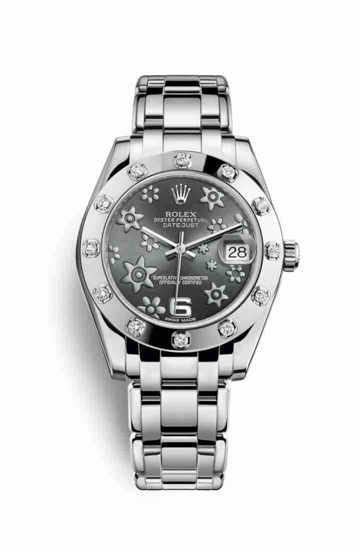 Rolex Pearlmaster 34 81319 Dark rhodium raised floral motif Dial Watch Replica