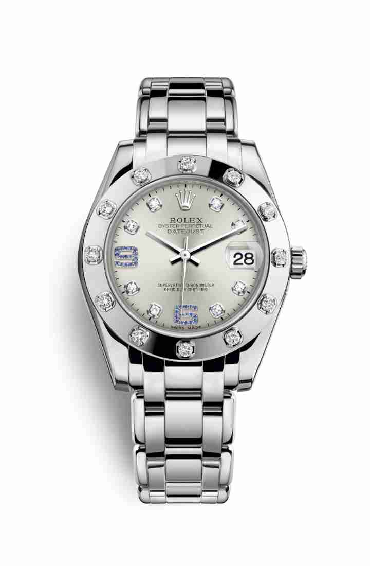 Rolex Pearlmaster 34 81319 Silver diamonds sapphires Dial Watch Replica