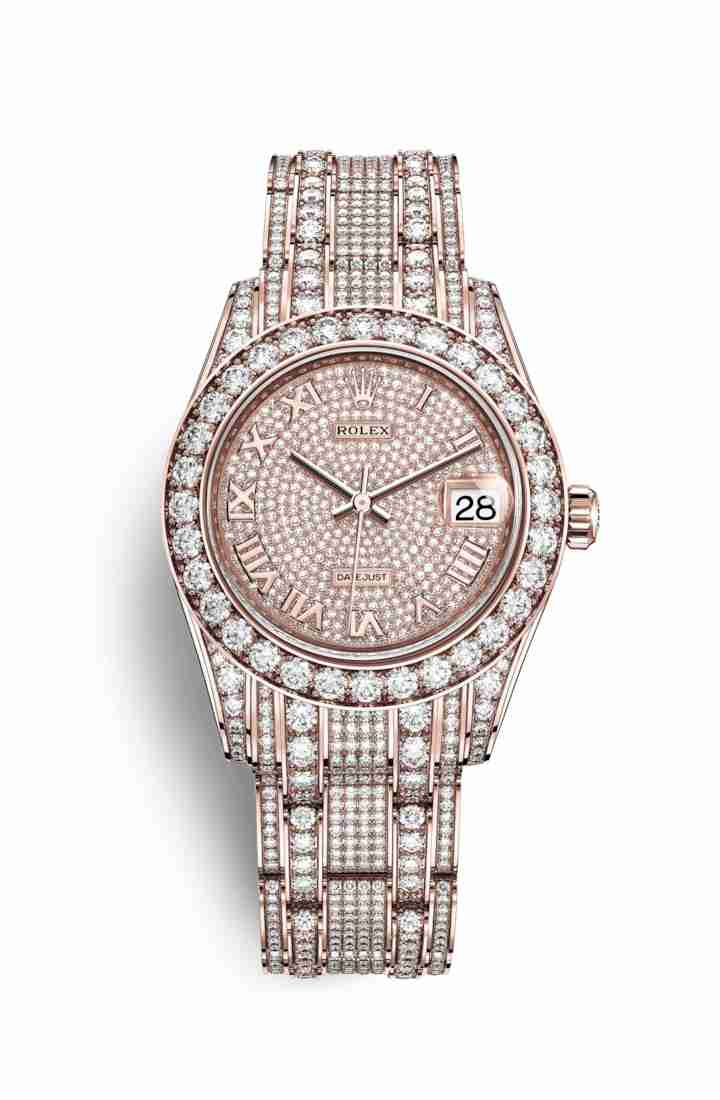 Rolex Pearlmaster 34 Everose gold lugs diamonds 81405RBR Diamond-paved Dial Watch Replica