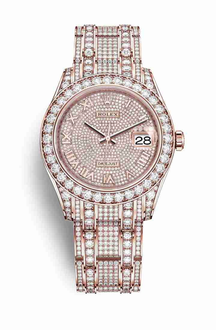 Rolex Pearlmaster 39 Everose gold lugs diamonds 86405RBR gold paved 713 diamonds Watch Replica