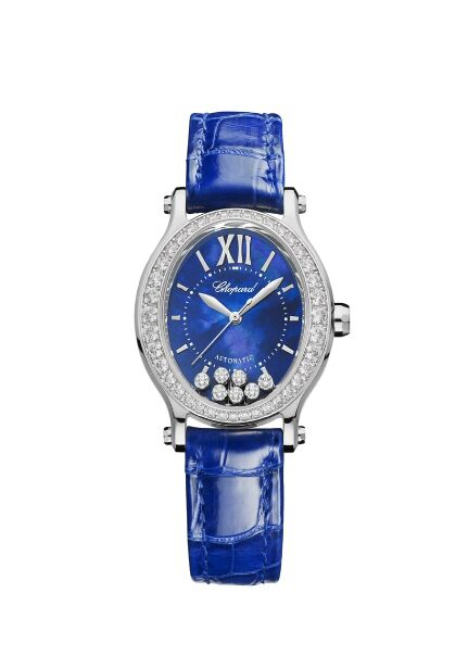 Chopard Happy Sport Oval 7 Floating Diamonds Mother of Pearl Diamond Leather Strap Women's Reproduction
