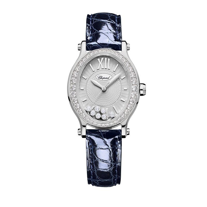 Chopard Happy Sport Oval Automatic Diamond White Gold BLue Leather 31mm Women's Reproduction