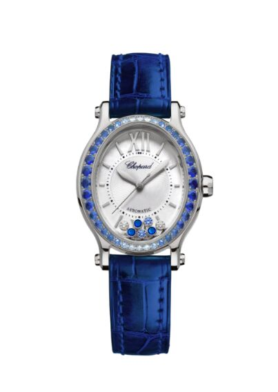 Chopard Happy Sport Oval 18K White Gold Sapphires And Diamonds Reproduction