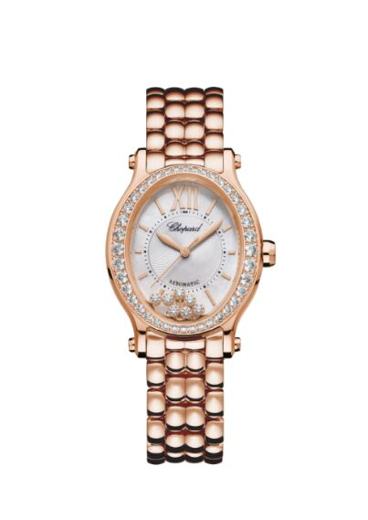 Chopard Happy Sport Oval 18K Rose Gold And Diamonds Reproduction