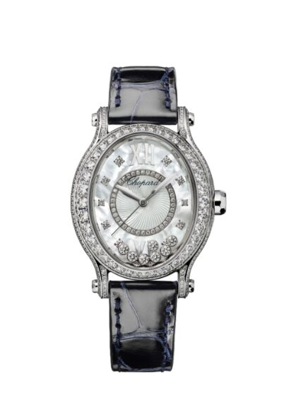 Chopard Happy Sport Oval 18K White Gold And Diamonds Reproduction