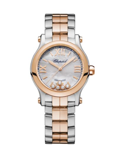 Chopard Happy Sport 18K Rose Gold & Stainless Steel & Diamonds 278573-6019 Reproduction