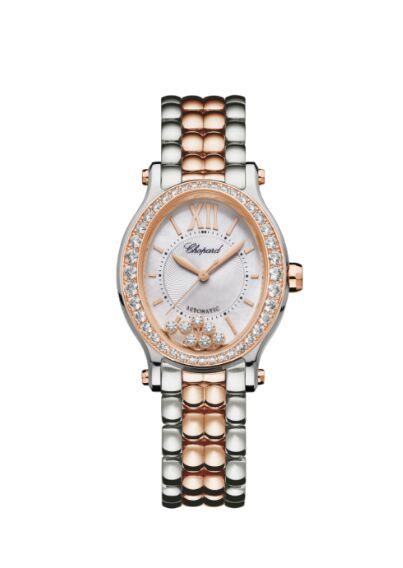 Chopard Happy Sport 30mm Oval 18K Rose Gold Stainless Steel And Diamonds Reproduction