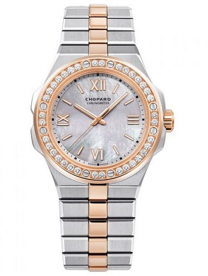 Chopard Alpine Eagle 36mm Steel and Rose Gold Diamond Bezel Mother of Pearl Dial Reproduction