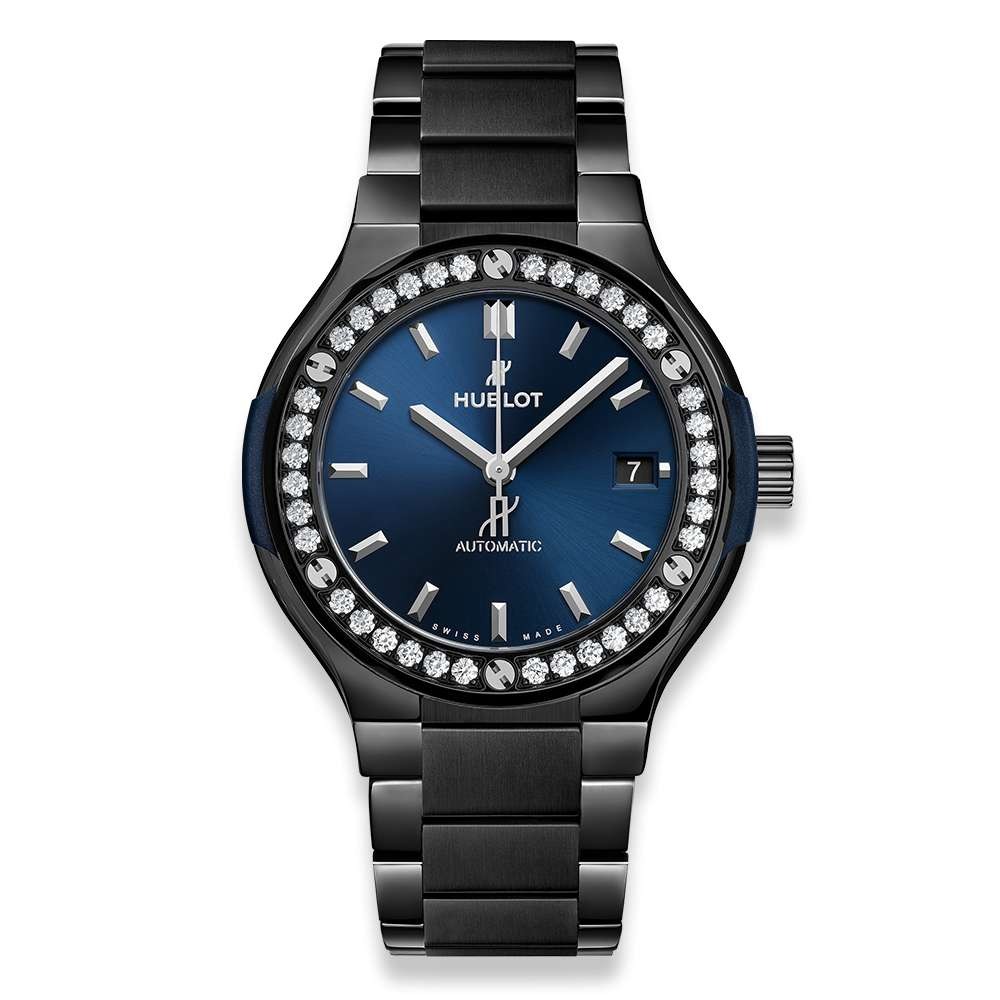 Hublot Classic Fusion Ceramic Blue Bracelet Diamonds Reproduction