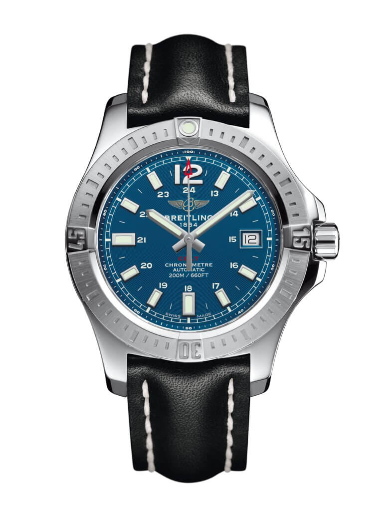 Breitling Colt 41 Automatic Blue Dial Black Leather Men's