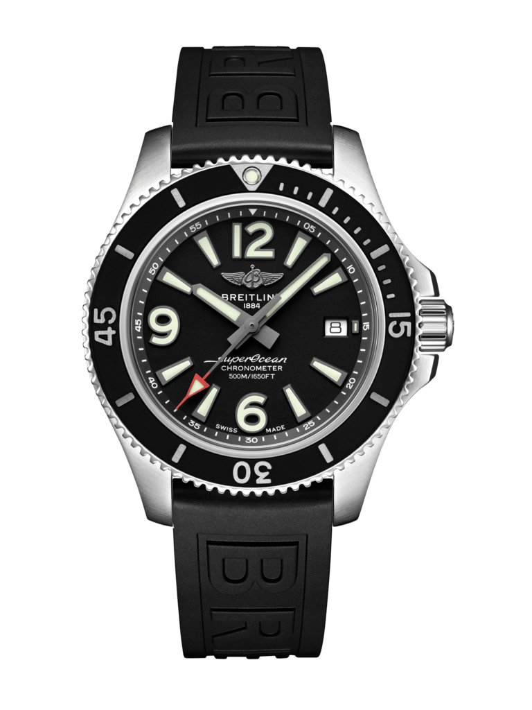 Breitling Superocean 42 Black Dial Black Rubber Strap Men's