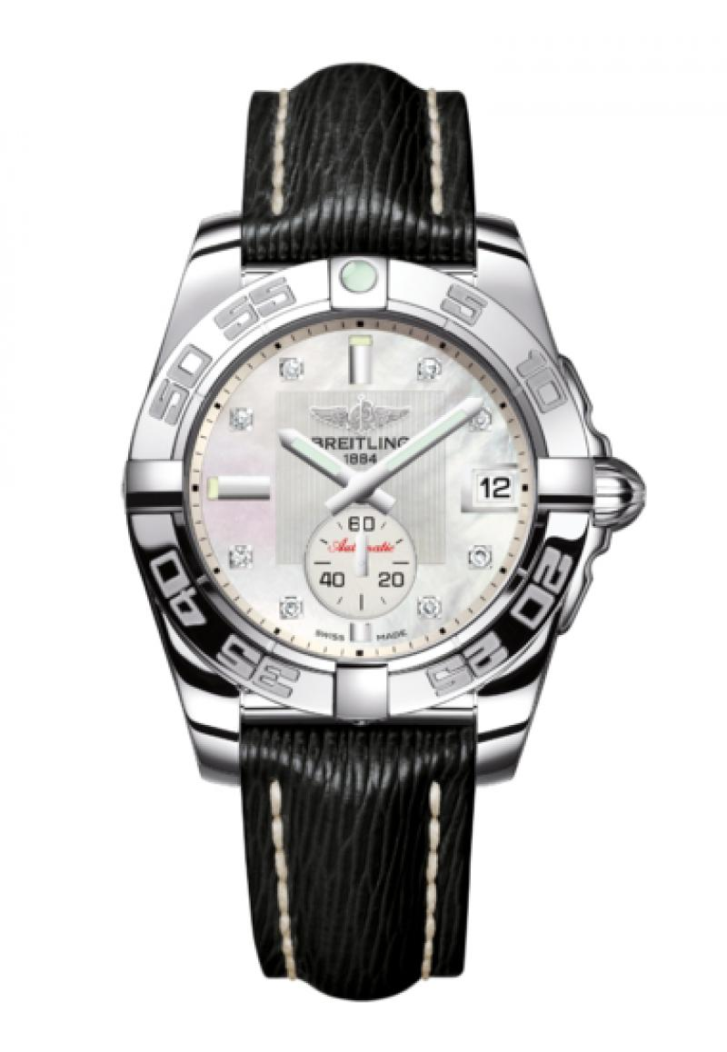 Breitling Galactic 36 Automatic Mother of Pearl Diamond Dial Black Leather Strap Women's