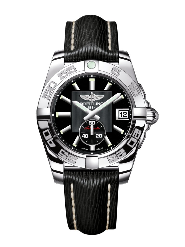 Breitling Galactic 36 Automatic Black Dial Black Leather Strap Women's