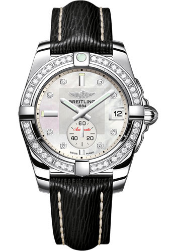 Breitling Galactic 36 Automatic Mother of Pearl Diamond Dial Black Leather Strap Women's A3733053/A717/213X/A16BA.1