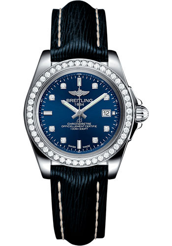 Breitling Galactic 32 Sleek Edition Blue Diamond Dial Blue Leather Strap Women's