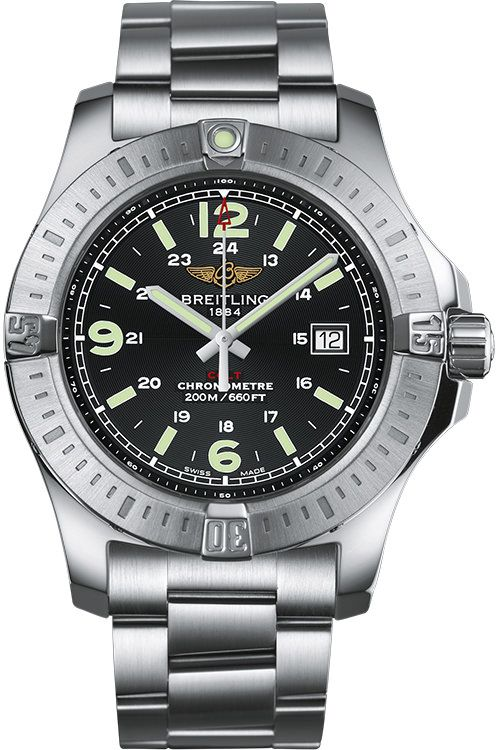 Breitling Colt Black Dial Stainless Steel Men's