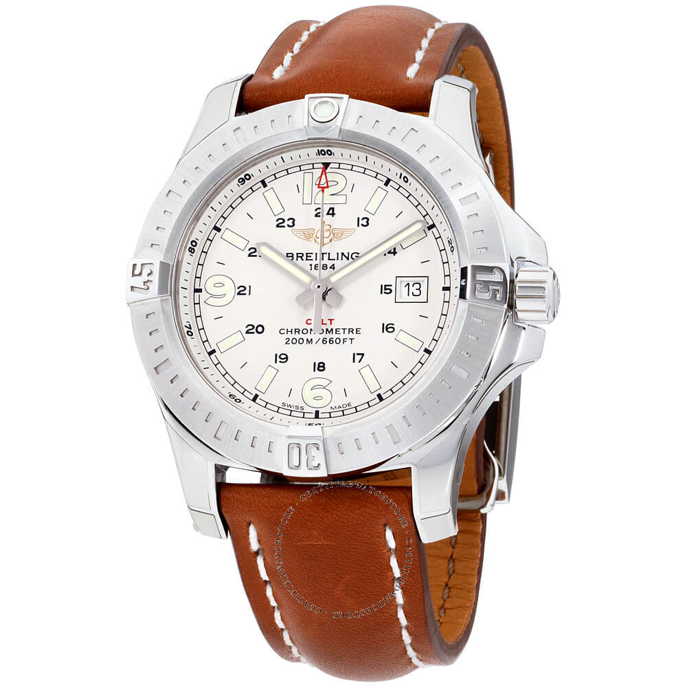Breitling Colt 44 Quartz Silver Dial Brown Leather Strap Men's A7438811/G792-437X