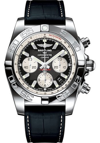 Breitling Chronomat 44 Stainless Steel / Onyx Black / Croco Rubber / Folding (AB011012/B967/296S/A20D.4)