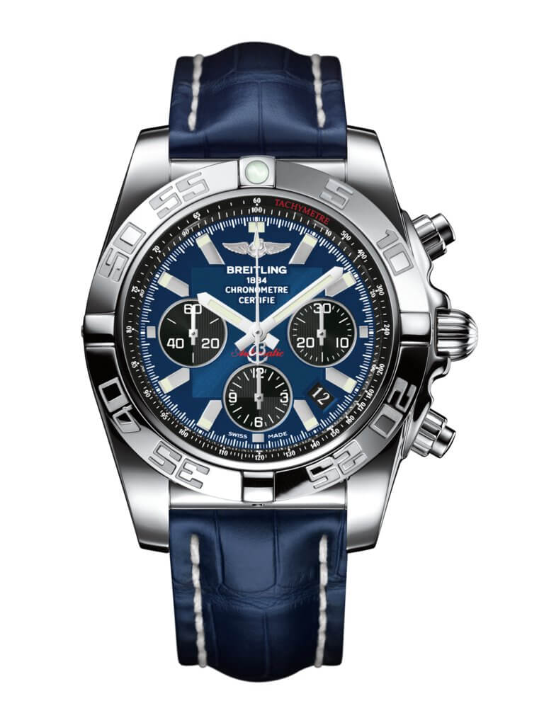 Breitling Chronomat 44 Stainless Steel / Blackeye Blue / Croco / Pin (AB011012/C789/731P/A20BA.1)